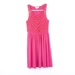 Love Fire Fuscia Pink Crochet Top Dress